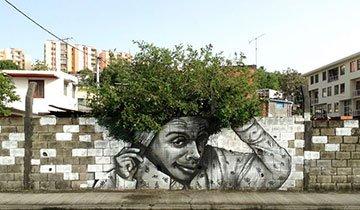 25 Piezas de arte urbano que interactúan hábilmente con la naturaleza