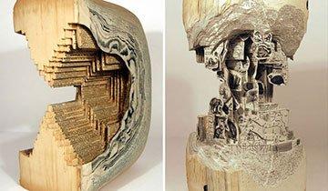 Libros y material quirúrgico para crear esculturas. ¡Espectacular!