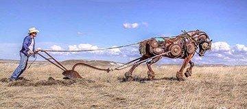 La chatarra de una granja se convierte en escultura. Impresionante