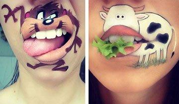 Artista del maquillaje utiliza sus labios para dar vida a personajes de dibujos animados