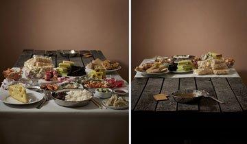 Esta mesa nos muestra las diferencias alimentarias entre ricos y pobres. Abre los ojos.