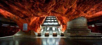 Las impresionantes instalaciones del metro de Estocolmo. Llegaría cada día tarde al trabajo.