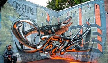 Artista callejero portugués crea impresionantes grafitis en 3D que parecen flotar en el aire.