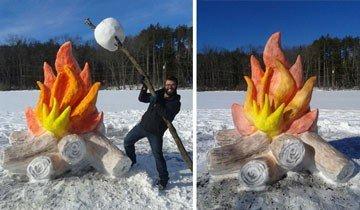Estos chicos crearon una fogata para asar malvaviscos después de una nevada.