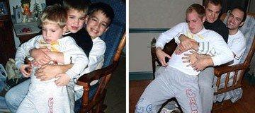Tres hermanos reconstruyen sus graciosas fotos de infancia como regalo para su madre.