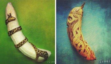 Este artista utiliza un bolígrafo y un cuchillo para convertir plátanos en obras de arte.