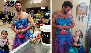 Esta niña tenía miedo de ser la única vestida de Cenicienta, entonces su tío hizo esto.