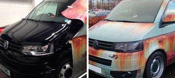 Camufla su furgoneta nueva con un vinilo de óxido para protegerla de los ladrones.