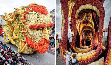 Enormes esculturas florales en honor a Van Gogh en el desfile de flores más grande del mundo.