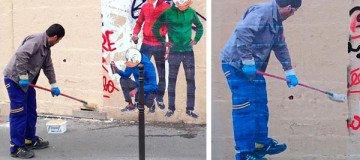 Un limpiador de Graffitis acaba convertido en una obra de arte urbano.