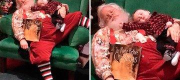 Algunos niños tienen miedo a Papá Noel y huyen. Este bebé sólo tenía sueño.